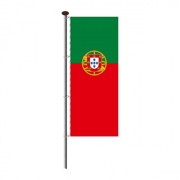 Fahne Portugal im Hochformat