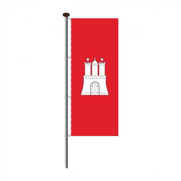 Fahne Hamburg im Hochformat