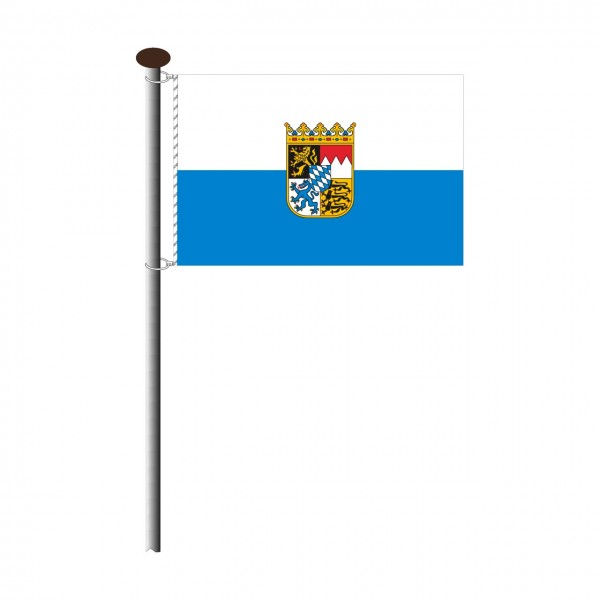 Fahne Bayern mit Wappen Querformat
