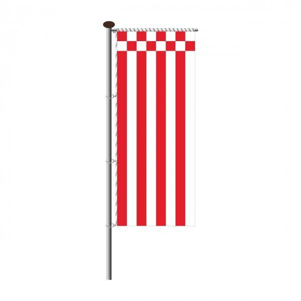 Fahne Bremen ohne Wappen für Auslegermast